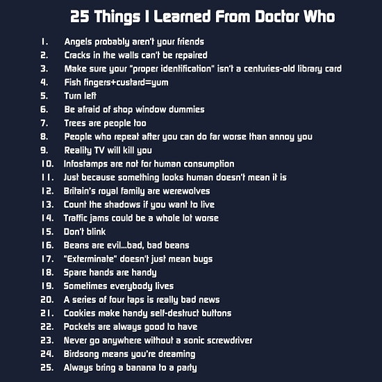 25 Things I learned from Doctor Who