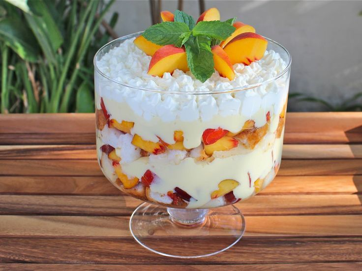 Tipsy Trifle with Peaches and Cream - definitely going to try this ...