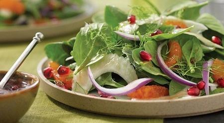 Mixed greens with Rainier Cherries, Nectarine, Feta Cheese, & White ...