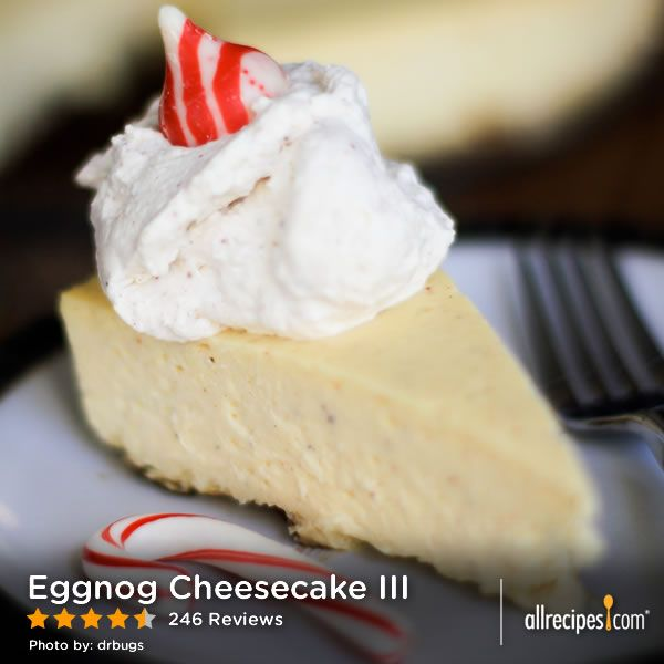 "Eggnog Cheesecake III | ""This was amazing! Silky smooth and so creamy ..."