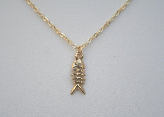 Fish bone necklace in gold christmas gift sale skeleton for Fish bone necklace