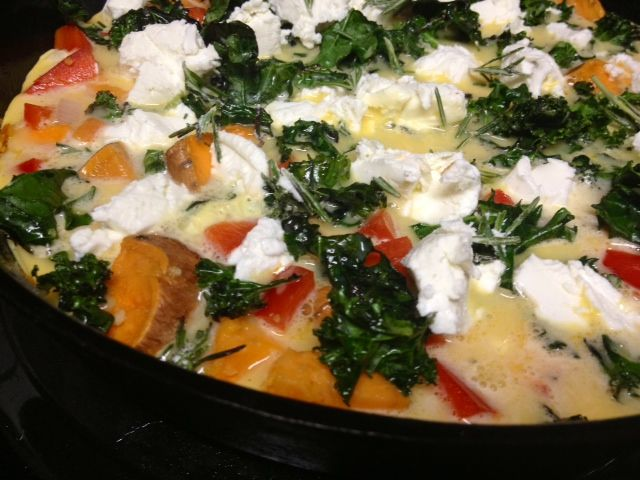 Frittata with sweet potato, red pepper, kale, and goat cheese...easy ...