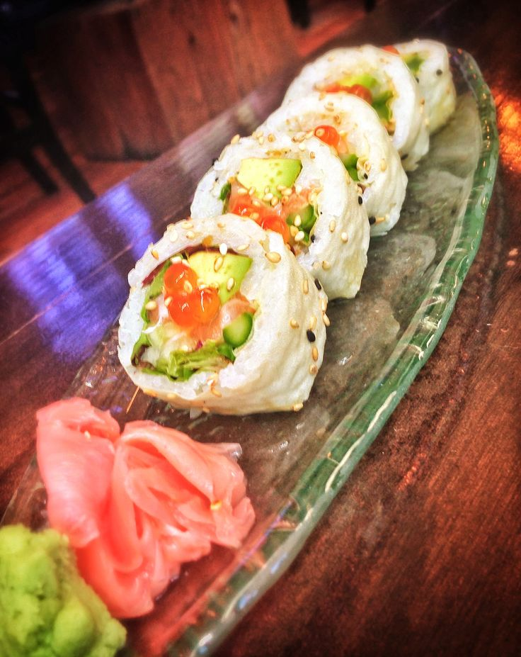 Salmon summer roll with asparagus, avocado, mescaline mix, cucumber ...