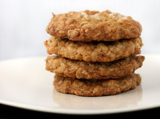 the best cookies EVER - crispy salted oatmeal white chocolate cookies