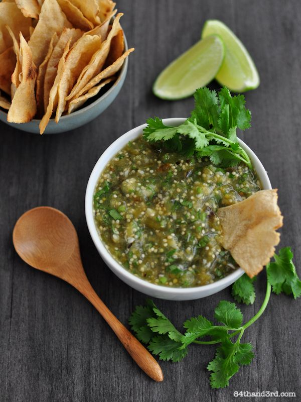 Roasted Salsa Verde And Roasted Tomatillo Guacamole Recipe ...