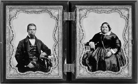 """Double portrait of Albro Lyons Sr. and Mary Joseph Lyons,1860 NYC. From the book """"Black Gotham: African Americans in 19th Century New York City."""" via Biddy Craft"""