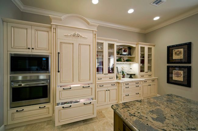 Light bright kitchen  love the frig!!!  Kitchen Ideas  Pinterest