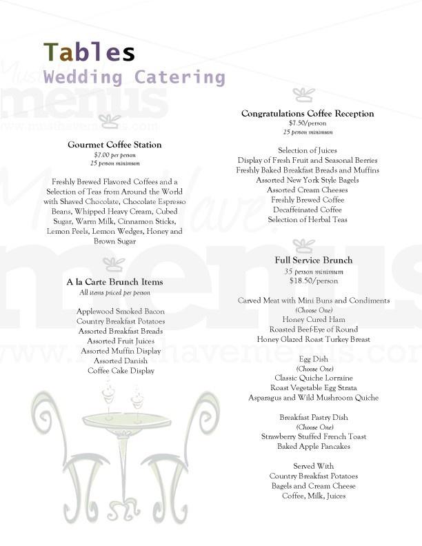 Catered Wedding Brunch Menu Idea