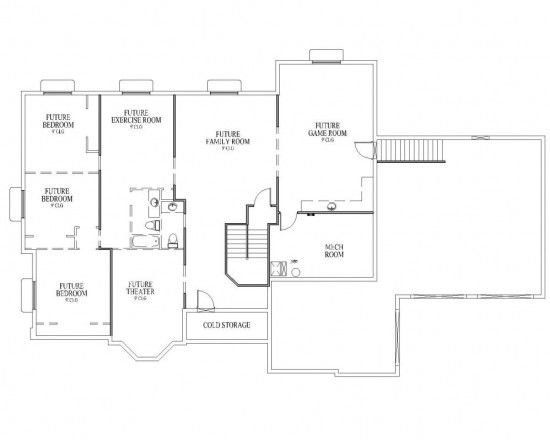Rambler house plan mcmillan basement for the home for Rambler house plans with basement