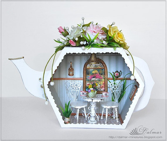 Roombox  Teahouse  Dollhouse Miniature OOAK Victorian by verrano, $275.00