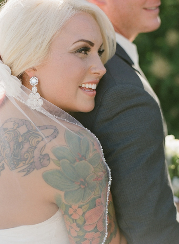 Blonde brides with tattoos pinterest for Covering tattoos for wedding