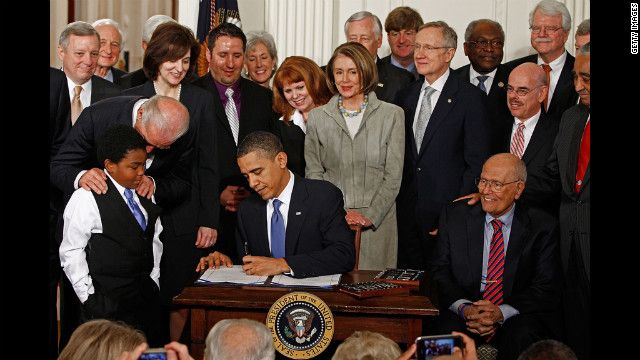 Obama signs the health care legislation in a March 23, 2010.