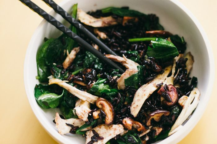 Quick Stir Fry with Black Rice, Shiitake Mushrooms, & Spinach | The ...