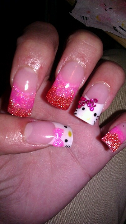 Hello Kitty nails with 3D art | Nails | Pinterest