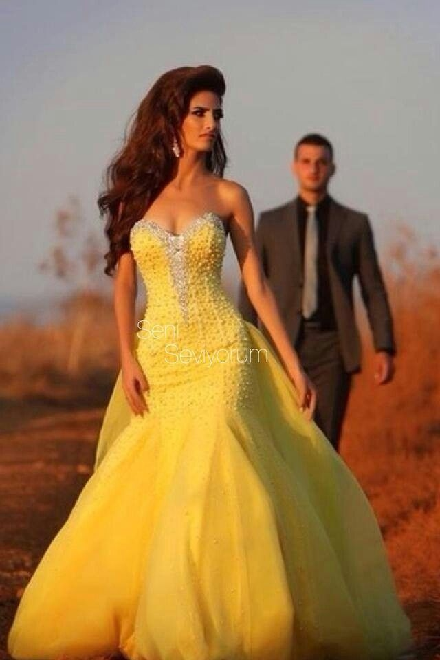 Yellow wedding gown dress