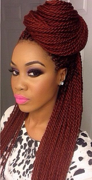 Natural hair. Box braids. Protective style. I might try this color for the summer