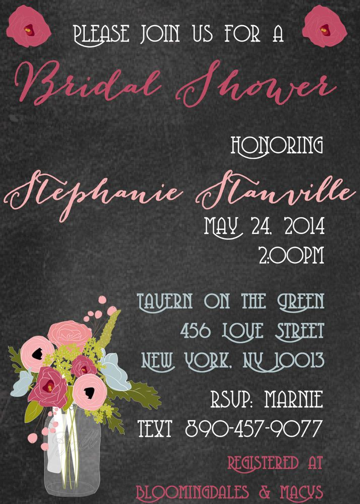 Chalkboard Mason Jar Bridal Shower Invitation Wedding Shower
