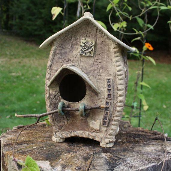 Whimsical BirdHouse - Ceramic BirdHouse - Handmade Pottery BirdHouse ...