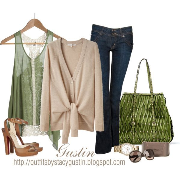 Green studded Valentino bag, created by stacy-gustin on Polyvore
