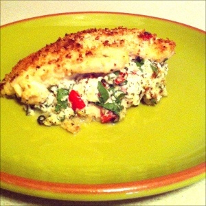 panko crusted chicken stuffed with ricotta spinach tomatoes and basil ...
