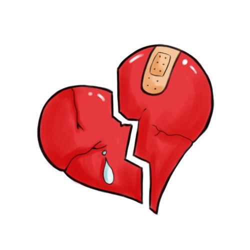 Graffiti drawings of broken hearts