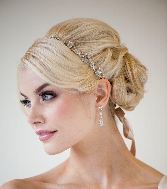 Wedding Hair With Rhinestone Headband : Wedding headband bridal rhinestone ribbon