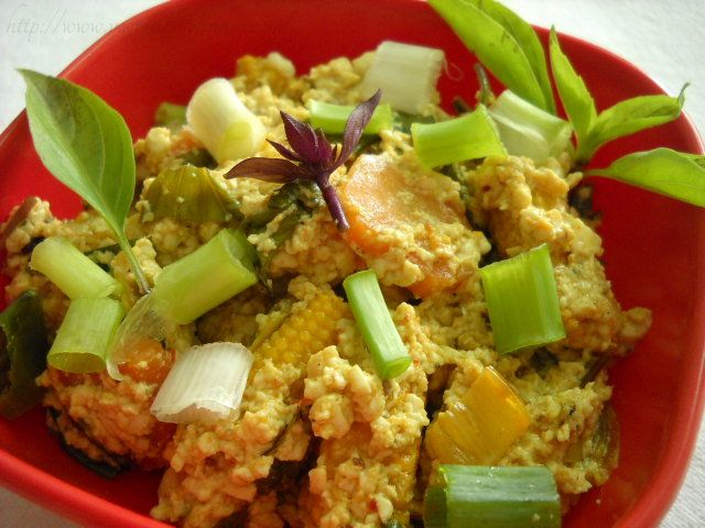 Scrambled silken tofu with vegetables in thai style | Recipe