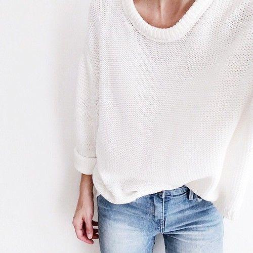 oversized white knit & denim #style #fashion
