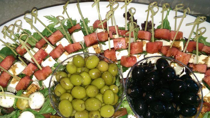 Caprese Skewers & Watermelon/Feta & Mint Skewers Appetizers