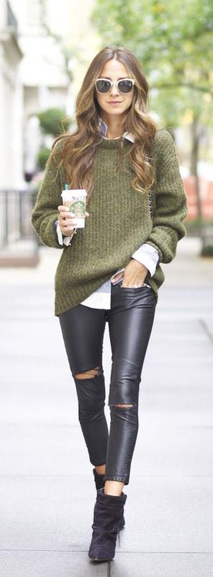 Street style khaki sweater and leather pants.