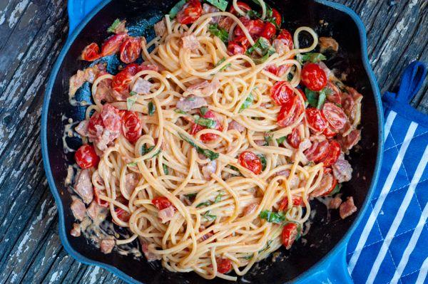 Bacon lettuce and tomato pasta via eatlivetravelwrite.com