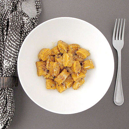 Homemade sweet potato gnocchi with sage brown butter.