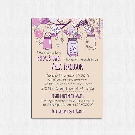 Mason Jar Bridal Shower Invitation, Printable, Purple shower invite ...