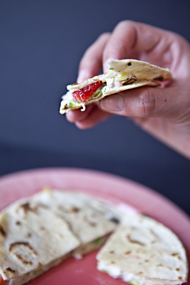 strawberry & leek quesadilla | Recipes | Pinterest