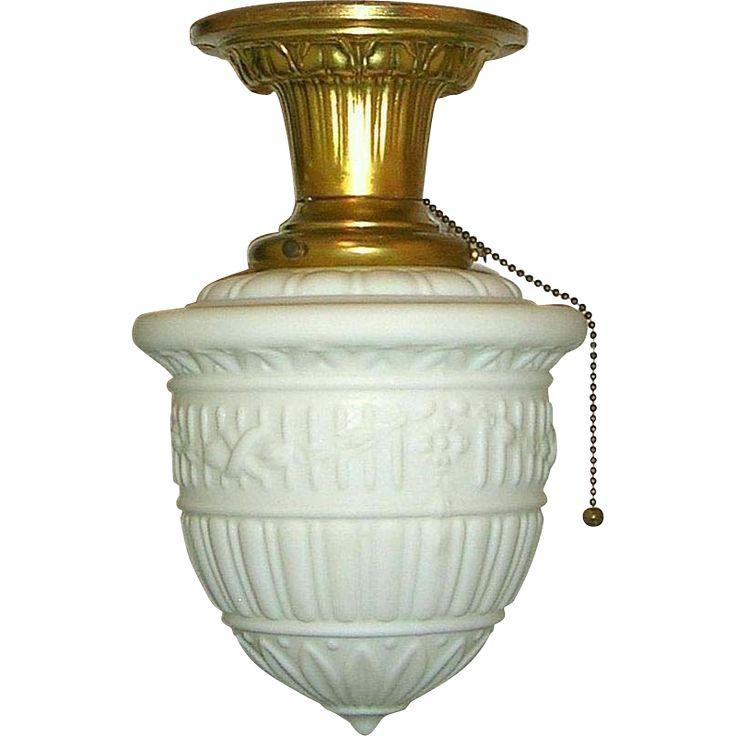 Vintage neoclassical milk glass flush mount ceiling fixture