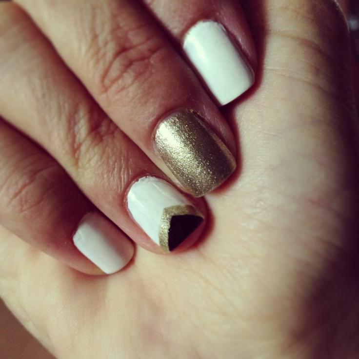 chevron white amp gold nails nails pinterest