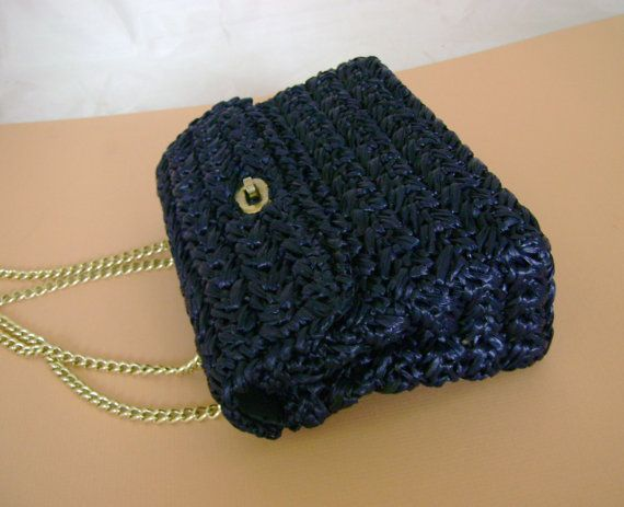 Vintage 1950s Snazzy Navy Blue Woven Straw Handbag by hopescatmeow,  ...