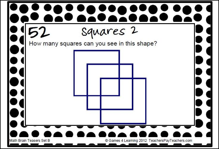Fun Math Brain Teasers! This Collection Of Printable Math Problems And Math Brain Teasers Cards