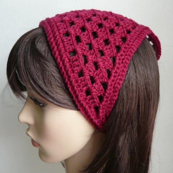 Mesh / Lattice Crochet Kerchief in Burgundy