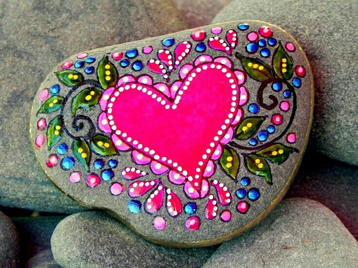 Beautiful pink heart painted on rock not so bummer for Pretty designs to paint
