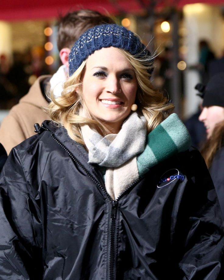 """""""Brr, it's cold out here."""" Carrie Underwoodbundles up at the Macy's Thanksgiving Day Parade rehearsals in chilly New York on Nov. 25"""
