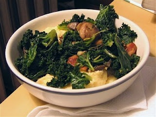 Kale and Mushrooms with Polenta: Temptation