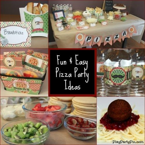 Fun and Easy Pizza Party Ideas by playpartypin.com #Pizza #party