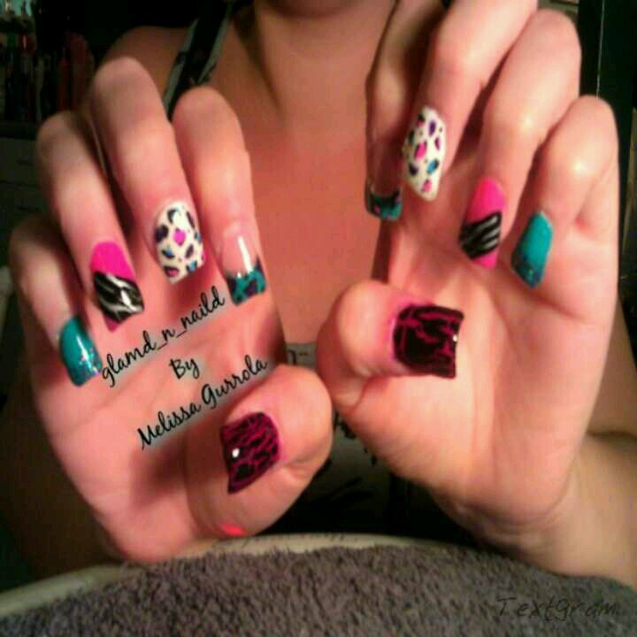 Acrylic Nails with polish & nail art | My work/Nails/Nail Art | Pinte