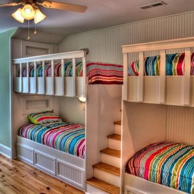 Kids bedroom bunkers with easy access stairs & colorful sheets