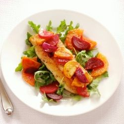 Pan-seared Halibut with Cara Cara Orange Miso Cream Sauce and Roasted ...
