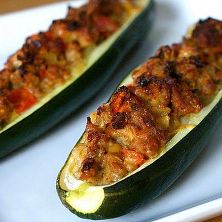 Sausage Stuffed Zuchinni | Food | Pinterest