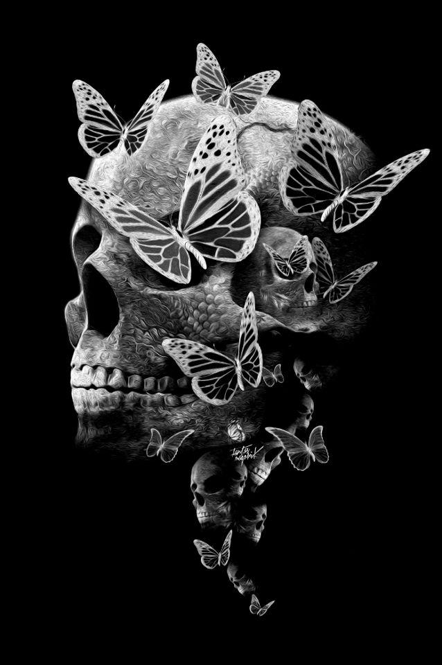 skull and butterflies beautiful butterflies flowers