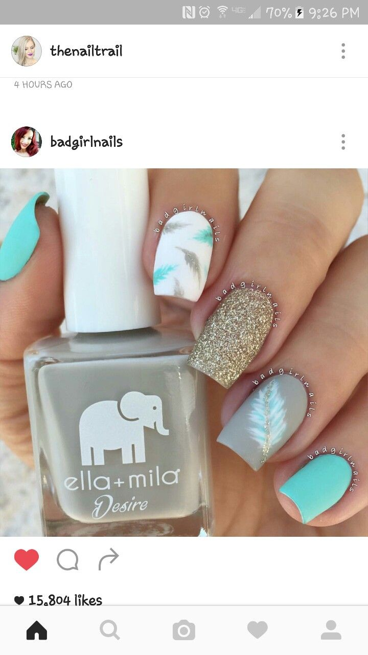 40 Feather Nail Art Ideas | Feather nail art, Gold glitter nails and ...