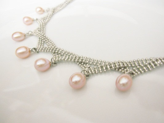 pink pearl necklace by Madame Soufflé #wedding